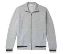 Striped Mélange Fleece-Back Cotton and Cashmere-Blend Zip-Up Sweatshirt