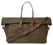 Leather-Trimmed Waxed Cotton-Canvas Holdall