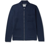 Merino Wool-Blend Zip-Up Cardigan