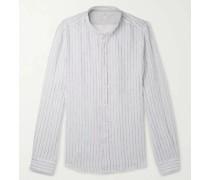 Grandad-Collar Pinstriped Linen Shirt