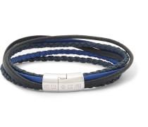 Cobra Woven Leather Silver-tone Bracelet