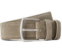 3.5cm Beige Suede Belt