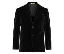 Kei Slim-Fit Unstructured Cotton-Velvet Blazer