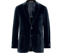 Blue Kei Slim-fit Cotton-velvet Blazer