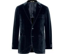 Blue Kei Slim-fit Unstructured Cotton-velvet Blazer