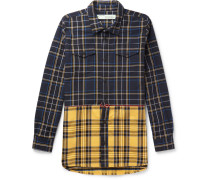 Embroidered Checked Cotton-blend Twill Overshirt