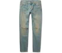 Skinny-fit 15cm Hem Distressed Stretch-denim Jeans