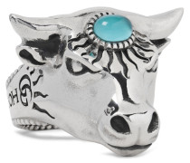 Bull's Head Sterling Silver And Glass Ring