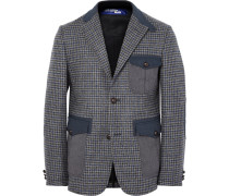 Grey Slim-fit Twill-trimmed Houndstooth Wool Blazer