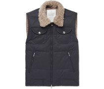 Shearling-trimmed Quilted Cotton-blend Gilet