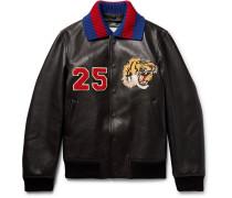 Appliquéd Leather Bomber Jacket