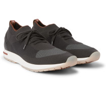 360 Flexy Walk Leather-Trimmed Knitted Wool Sneakers