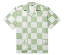 Canty Peace Camp-Collar Checked Cotton-Poplin Shirt