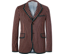 Slim-fit Striped Wool And Cotton-blend Suit Jacket
