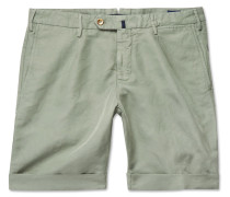 Slim-fit Linen And Cotton-blend Shorts