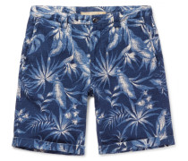 Printed Cotton And Linen-blend Shorts