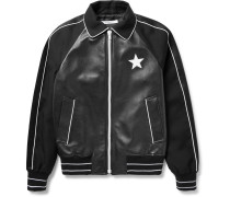 Satin-trimmed Leather And Wool-twill Bomber Jacket
