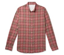 Antime Button-Down Collar Checked Stretch-Cotton Shirt