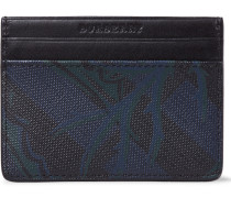 Leather-trimmed Faux Textured-leather Cardholder