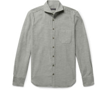 Slim-fit Cutaway-collar Cotton-corduroy Shirt
