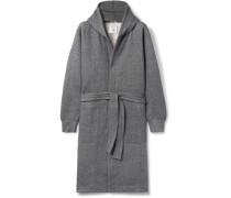 Mélange Fleece-back Cotton-blend Jersey Hooded Robe