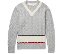Slim-fit Cable-knit Wool Cricket Sweater