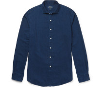 Slim-fit Garment-dyed Brushed Cotton-twill Shirt