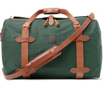 Leather-Trimmed Cotton-Twill Duffle Bag