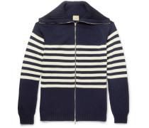 Striped Cotton Zip-up Cardigan