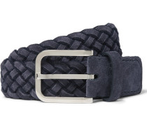 3.5cm Navy Braided Suede Belt