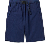Indigo-Dyed Belted Cotton-Jacquard Shorts