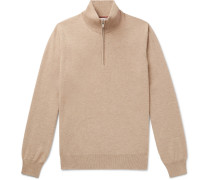 Contrast-Tipped Cashmere Half-Zip Sweater