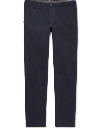 Navy Stanino Slim-fit Cotton-blend Twill Chinos - Navy