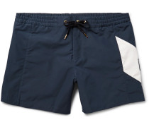 Chevron-detailed Short-length Swim Shorts
