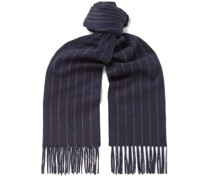 Fringed Pinstriped Wool and Cashmere-Blend Scarf