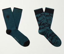 Two-Pack Intarsia Cotton-Blend Socks