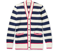 Embroidered Striped Cotton Cardigan