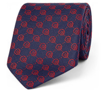 6cm Guccighost Embroidered Silk-faille Tie