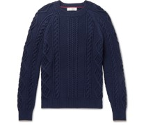 Contrast-Tipped Cable-Knit Cotton-Blend Sweater