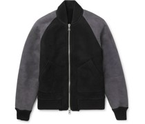Reversible Colour-Block Shearling Bomber Jacket