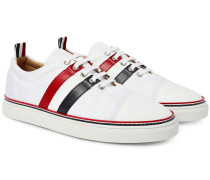 Striped Leather-trimmed Canvas Sneakers