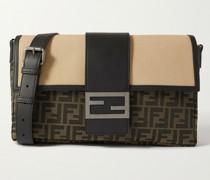 Baguette Leather-Trimmed Monogrammed Coated-Canvas Messenger Bag