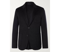Navy Unstructured Double-Faced Splitable Virgin Wool and Cashmere-Blend Blazer