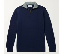 Slim-Fit Mélange Cashmere Half-Zip Sweater