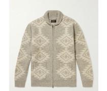 Jacquard-Knit Zip-Up Cardigan