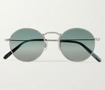 Weslie Round-Frame Silver-Tone Titanium Sunglasses