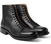 Peaky Pebble-grain Leather Boots