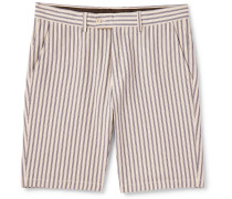 Slim-Fit Striped Cotton-Twill Bermuda Shorts