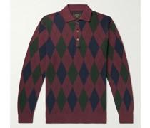 Argyle-Jacquard Cotton Polo Shirt