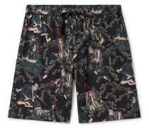 + Rie Takeda Samurai Printed Cotton Pyjama Shorts